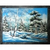 Картина Зимний лес из каменной крошки 45 см.
